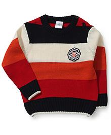 Babyhug Full Sleeves Striped Sweater - Red Orange