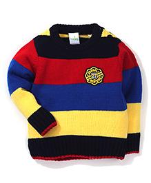 Babyhug Full Sleeves Striped Sweater - Blue Yellow