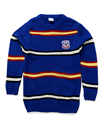 Babyhug Pullover Style Striped Sweater - Royal Blue