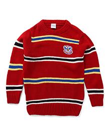 Babyhug Pullover Style Striped Sweater - Maroon