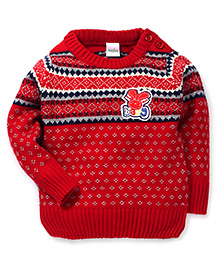 Babyhug Full Sleeves Rabbit Patch Sweater - Red