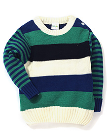 Babyhug Striped Pullover Sweater - Off White Green
