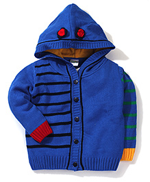 Babyhug Button Up Hooded Sweater - Royal Blue