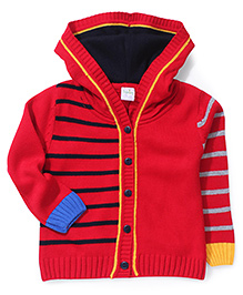 Babyhug Button Up Hooded Sweater - Red