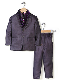 Babyhug Party Wear 3 Piece Coat Set With Tie - Aubergine Color