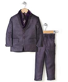 Babyhug Party Wear 3 Piece Coat Set With Tie - Aubergine Color