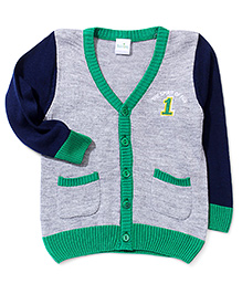 Babyhug Button Up Sweater Number Patch - Grey Navy Green