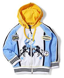 Mickey Hooded Jacket Lion Print - White Sky Blue