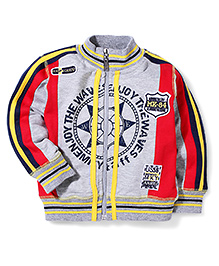 Mickey High Neck Jacket MK 84 Patch - Grey And Red