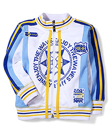 Mickey High Neck Jacket MK 84 Patch - White And Sky Blue