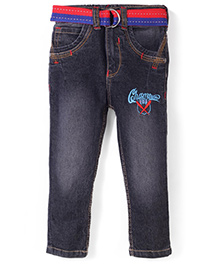 Babyhug Denim Jeans Champion Embroidery With Belt - Light Black