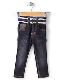 Babyhug Full Length Denim Jeans With Belt - Dark Grey