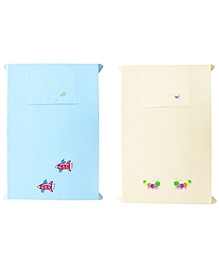Baby Rap Bees And Spaceships 2 Cot Sheets With 2 Pillow Covers - Blue Lemon