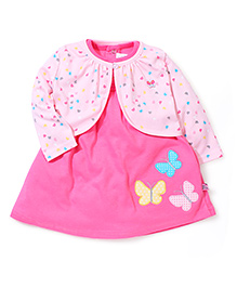 ToffyHouse Cap Sleeves Frock With Shrug Butterfly Patch - Pink