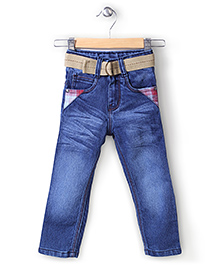 Babyhug Full Length Denim Jeans With Belt - Blue
