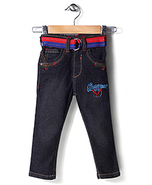 Babyhug Denim Jeans Champion Embroidery With Belt - Dark Black