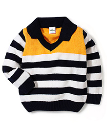 Babyhug Striped Collar Neck Sweater - Yellow And Navy