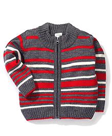 Babyhug Striped Zip Up Sweater - Grey Red