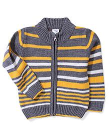 Babyhug Striped Zip Up Sweater - Grey Yellow