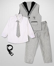 Kids On Board Shirt Pant & Waistcoat Set - Grey
