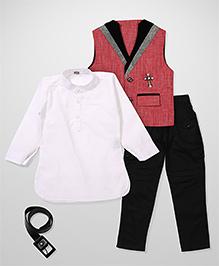 Kids On Board Shirt Pant & Waistcoat Set - Pastel Red