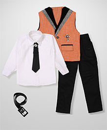 Kids On Board Shirt Pant & Waistcoat Set - Pastel Orange