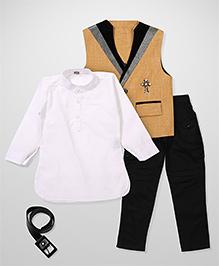 Kids On Board Shirt Pant & Waistcoat Set - Pastel Yellow