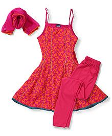 Anarkali Suit With Churidar & Dupatta - Orange & Pink
