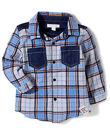 Pumpkin Patch Denim Panel Shirt Checkered - Blue