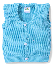 Babyhug Sleeveless Sweater Solid Colour - Sky Blue