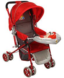Baby Pram Cum Stroller Animal Face - Red