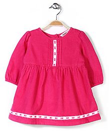Beebay Gathered Corduroy Dress - Fuchsia Pink