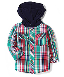 Beebay Hooded Check Shirt - Green And Multicolor