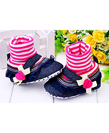 Striped High Shoes - Pink
