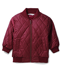 Beebay Cross Stitch Quilted Jacket - Maroon