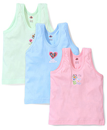 Zero Sleeveless Multi Print Vests Pack Of 3 - Green Blue Pink