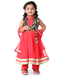 Babyhug Embroidered Anarkali Suit With Dupatta - Tomato Red
