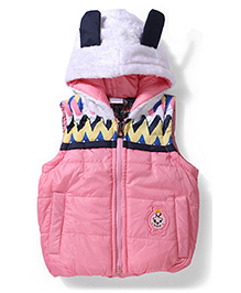 Babyhug Sleeveless Hooded Jacket - Pink