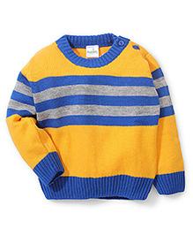 Babyhug Round Neck Striped Sweater - Yellow And Royal Blue