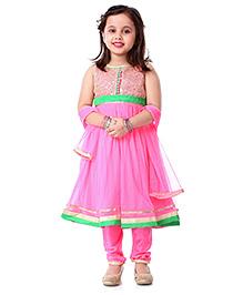 Babyhug Anarkali Suit With Dupatta Sequin Embellishment - Pink