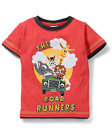 Babyhug Printed Half Sleeves T-Shirt- Red