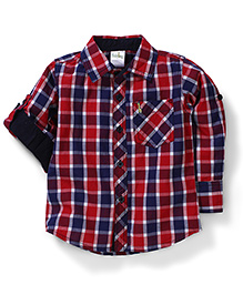 Babyhug Full Sleeves Check Print Shirt - Red Navy