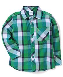 Babyhug Full Sleeves Check Print Shirt - Green And White