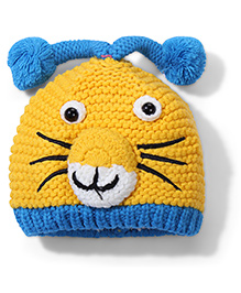 Babyhug Knitted Bonnet Cap Bunny Design - Yellow