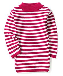 Babyhug Long Sleeves Striped Sweater - Rose Pink & White