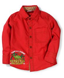 Babyhug Full Sleeves Shirt Dinosaur Print - Red