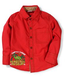 Babyhug Full Sleeves Shirt Dinosaur Print - Red