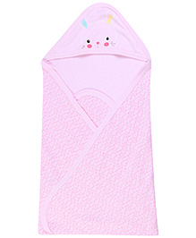 Zero Hooded Bath Towel Allover Print - Pink