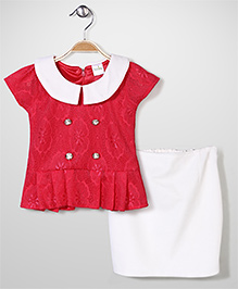 Babyhug Party Wear Net Top & Skirt Set - Coral Red & White