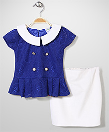 Babyhug Party Wear Net Top & Skirt Set - Royal Blue & White